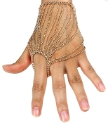 Fore Finger Draped Hand Chain - Gold
