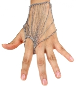 Fore Finger Draped Hand Chain - Silver