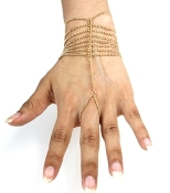 Single Finger Draped Hand Chain - Gold