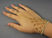 Rhinestone Hand Chain with Ring - Gold