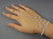 Rhinestone Hand Chain with Ring - Silver
