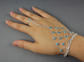 Rhinestone Hand Chain with Ring - Blue