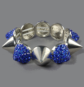 Silver and Blue Crystal Spike Bangle