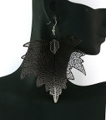 Hematite Leaf Earrings