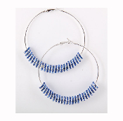 Blue Crystal Rondelle Hoop Earrings