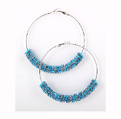 Blue Rondelle Hoop Earrings