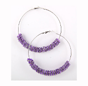 Purple Rondelle Hoop Earrings