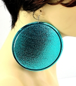Teal Blue Round Earrings