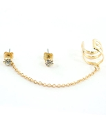 Gold Ear Cuff w Chain and Post Earrings