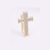 Gold Crystal Cross Knuckle Ring