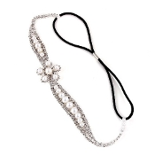 Silver Rhinestone Ivory Pearl Flower Head Band