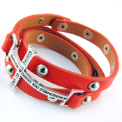 Coral Bible Verse Cross 3 Wrap Bracelet