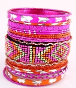 21 Piece Fuchsia and Orange Bangles