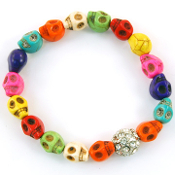 Multi Color Skull Crystal Ball Bracelet