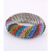 Multi Color Rhinestone Wave Bracelet