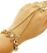 Gold color Metal  Butterfly Bracelet with Ring