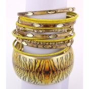 Light-Brown & Gold Multi Pcs Bangles