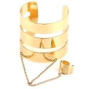 Gold Metal Bracelet and Ring Cuff