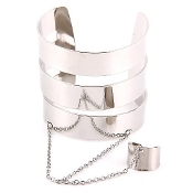 Silver Metal Bracelet and Ring Cuff