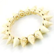 Stretch Off WhiteTurquoise Spike Bracelet