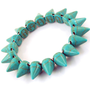 Stretch Blue Turquoise Spike Bracelet
