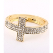 Gold Rhinestone Cross Bangle