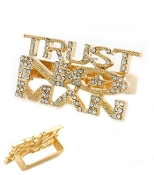Gold Trust No MAN Knuckle Ring