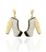 Black Gold Crystal High Heel Boots Earrings