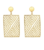 Gold color Square Pattern Textured Earrings