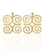 Gold Color Rams Horn Symbol Earrings