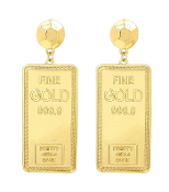 Gold Colored Gold Bar Earrings